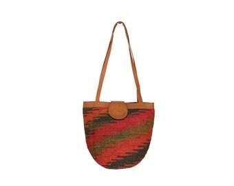 Red & Green Woven Tribal Shoulder Bag // Boho Southwestern Bag // H231