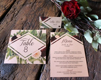 Bohemian Kraft Paper Geometric Burgundy and Peach Floral Wedding Stationery Suite, Table Numbers, Place Cards and Menu : DCo Lovenotes