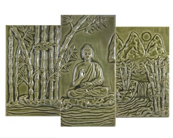 Buddha Bamboo Grove Tile Mural, Back splash tile mural