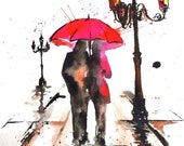 Paris Love Original Watercolor Painting, Romantic Bliss by Lana Moes, Travel Illustration, Paris Wanderlust, City of Love