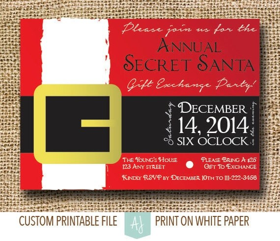 Secret Santa Christmas Party Invite- Printable Holiday Party Invitation- Christmas Party Invite