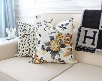 SALE! Both Sides Designer Yellow Grey Charcoal Moody Flower Floral Cotton Pillow 18x18