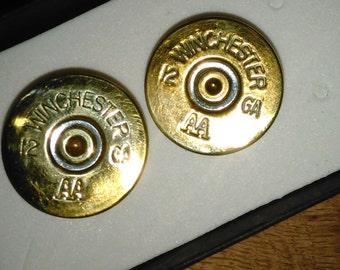 Mens cuff links- mens shotgun shell cuff links- Bullets - gifts - Winchester 12 gauge jewelry.