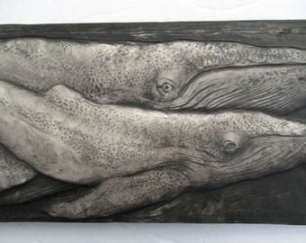 Humpback Whales Sculpture Detailed Black Art Tile Nature Gift