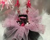 Christmas Ornament Pink Black TuTu