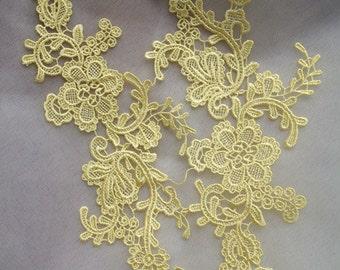 yellow lace applique by pairs, venice lace applique