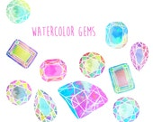 Watercolor diamonds - INSTANT DOWNLOAD -clipart -  illustrated gems in flashy cool colors