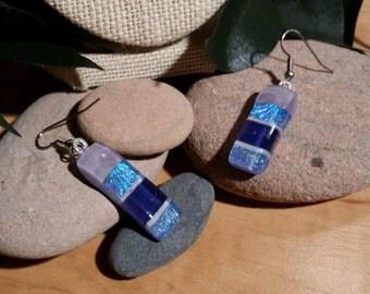 Purple, Pink, Aqua Mix Fused Dichroic Glass Earrings - FG-004
