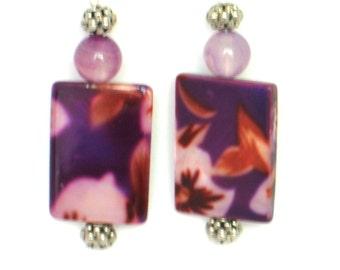 Purple Earrings, Purple Stone Earrings, Chandelier Earrings, Floral Purple Earrings