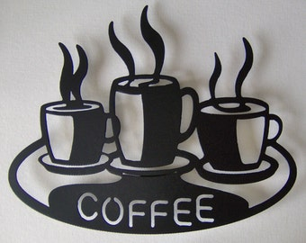 Coffee Cups on Platter Metal Wall art