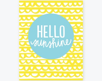 Hello Sunshine | Happy Giclee Print | Bright, Colorful Wall Art | Graphic Office Decor