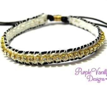 Macrame Stacking Bracelet, Friendship Bracelet with Rhinestone Chain & Leather Cord - White