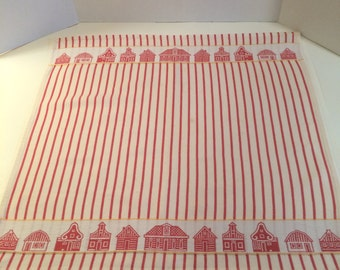 Vintage Kitchen 100% Cotton Towel by Elias Holland Red Strip with Barns and Houses