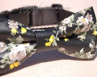 Cute black Bow tie dog collar,Modern wedding dog collar.Pet party collar.print dog wedding collar.pet collar, Birthday gift for dog