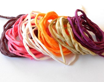 Hand dyed Silk Cords  - Set of 6 - white orange brown silk strings