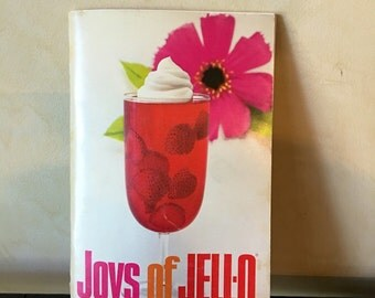 Vintage joys of jello Cookbook paperback pink floral fruit retro novelty geekery recipes book humor funny advertisement