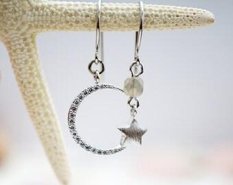 Crescent Moon & Star Celestial Earrings Mismatch, Modern Everyday Jewelry, Simple Boho Gypsy, Minimalist Hippie Gift for her, Earrings