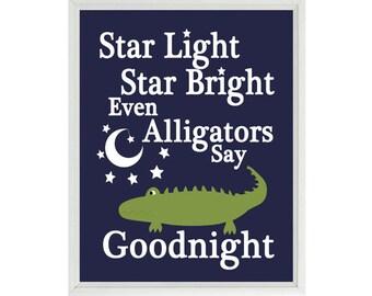 Alligator Nursery Art, Star Light Star Bright Even Alligators Say Goodnight, Quote, Alligator Wall Art, Madras Print, Navy Blue, Green, Gift