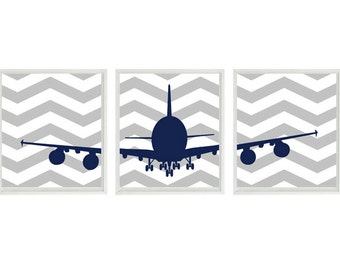 Airplane Nursery Art, Baby Boy Room, Navy Blue Gray, Chevron Decor, Plane Wall Art, Boy Room, Toddler Room Decor, Big Boy Room Art