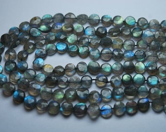 13 Inch Strand,Finest Quality,Blue Flashy Labradorite Faceted Coins Beads,6mm