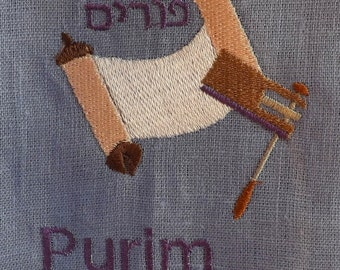 No Purim No Messiah 100% Linen Lilac and Purple Linen/Rayon Tunic Caftan with Embroidery, Matching Ribbon and Decorative Stitching