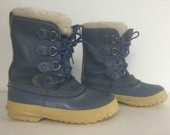 Sorel Kaufman Women's Felt Pac Blue Manitou Warm Winter Snow Boots Size 8.5-9 Woman's