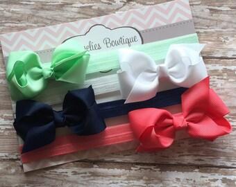 4 Bow Headbands..Bows..Newborn Headband..Baby Girl Headband.Bow Headband..Baby Headband..Toddler Headband..Infant Headband