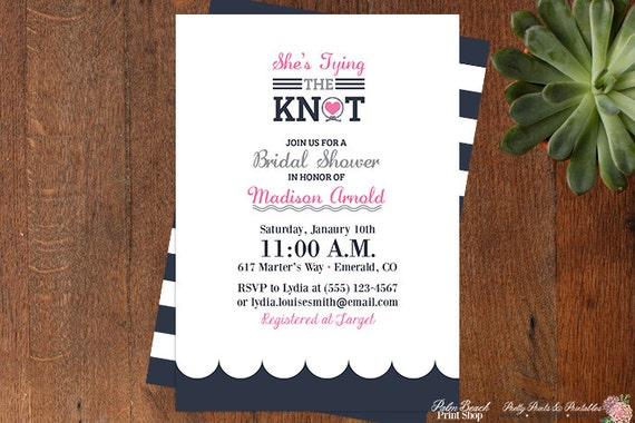 The Knot Addressing Wedding Invitations: Tying The Knot Nautical Bridal Shower Invitations Modern