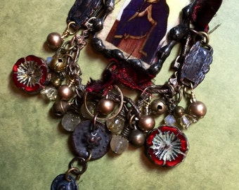 Madonna in Prayer Soldered Charm Pendant Necklace By Susan Ray