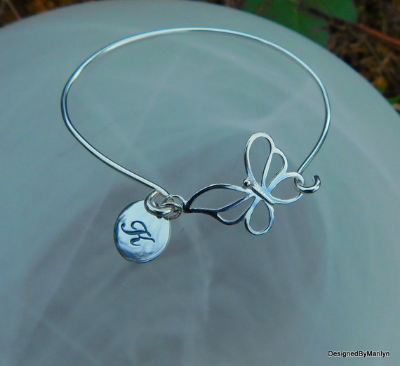 Sterling silver bangle bracelet, butterfly bracelet, enlightenment jewelry, new life bracelet