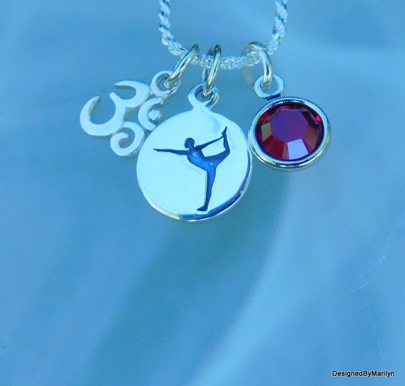 Yoga necklace, meditation jewelry, sterling silver dance-tree-warrior-sitting meditation/yoga poses