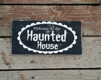 Haunted House, wood sign, Halloween Decor, Halloween Sign, Wood Sign, Home Decor, Disney inspired wood sign, Haunted Mansion