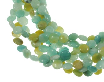 "Amazonite 10mm Flat Coin Gemstone Beads - Full 16"" Strand - About 39 Beads - Soft Blue Colors"