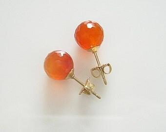 Faceted Carnelian on Gold Filled Studs Earrings - Stud Earrings Gem Stone Orange