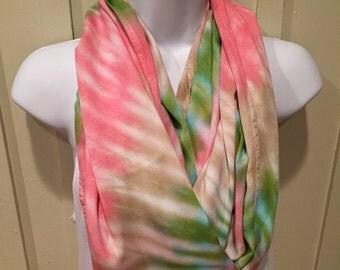 Tye dye scarf, hand dyed rayon infinity scarf, circle scarf,  seaglass, chamois and hot pink infinity scarf