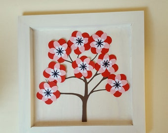"""The wooden white frame """"The tree and its cherry blossoms"""" 25 x 25 cm"""