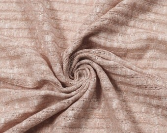 Dusty Pink 8x4'' Rib Sheer Open Knit Rayon Poly Rib Knit Fabric by the Yard - Style 634