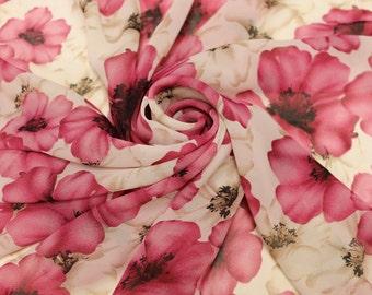 White and Pink Rose Pattern Chiffon Fabric Style 8075
