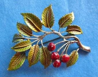 Vintage Exquisite Leaf Brooch Cherry Tree Very sweet