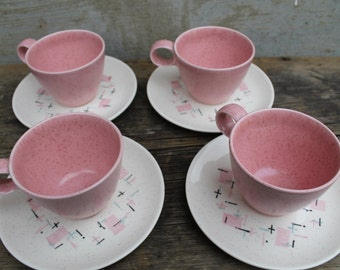 Pink Metlox Vernonware Tickled Pink Cup and Saucer Mid Century USA, Set of 4