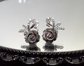 Blest Jewellery-Black Mother of Pearl Rose Earrings-925 Sterling Silver