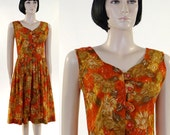 Vintage 1950s Coquette Orange Floral Sun Dress / Sleeveless / Button Front / Jeweled Buttons / Day Dress / Cotton Dress