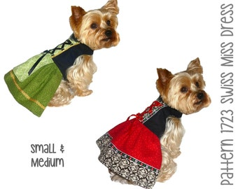 Swiss Miss Dog Dress Pattern 1723 * Small & Medium * Dog Clothes Sewing Pattern * Dog Harness Dress * Designer Dog Clothes * Dog Apparel
