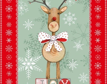 Fabric,Fabric Panel, Cotton Fabric,Studio e Love Joy and Peace Christmas Fabric Panel,