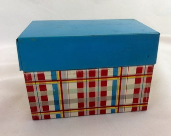 Vintage Metal Recipe Box Red Blue Plaid