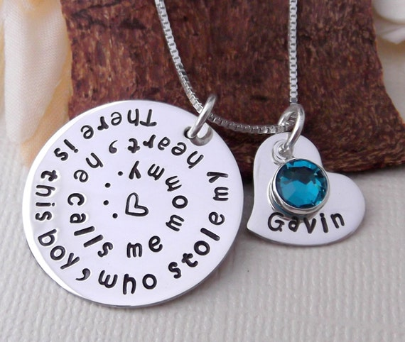 Personalized Mommy Necklace- Hand Stamped Mommy Jewelry-  Who Stole My Heart Necklace- Mother and Son Jewelry- Mother's Day Gift