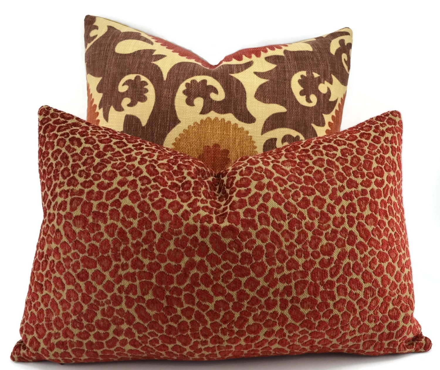 Throw Pillow Cover Red & Gold Chenille Animal Print Pillow