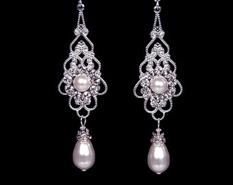 "Bridal earrings, wedding jewelry, White pearl and rhinestone earrings, Swarovski, silver, ""Princess"" earrings"