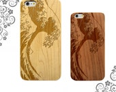 Ocean Surf Wave Maple Cherry Bamboo Wood Phone Case for iPhones and Galaxy S Phones - LW0091