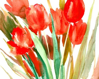 Red Tulips, 13 X 11 in, original watercolor painting